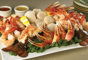 seafood platter with crab shrimp lobster scallops