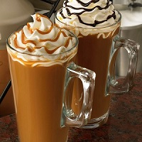 two frappuccinos with chocolate and caramel