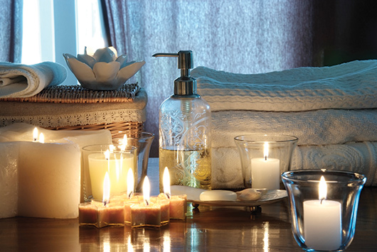 candles and towels and soaps