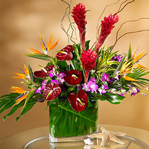 vase of tropical flowers