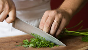 knife chopping parsley
