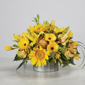 yellow sunflowers daisies tulips assortment in a low galvanized silver metal vase
