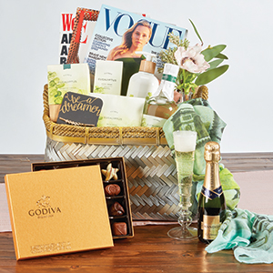 Spa Day Gift Basket with box of chocolates and wine