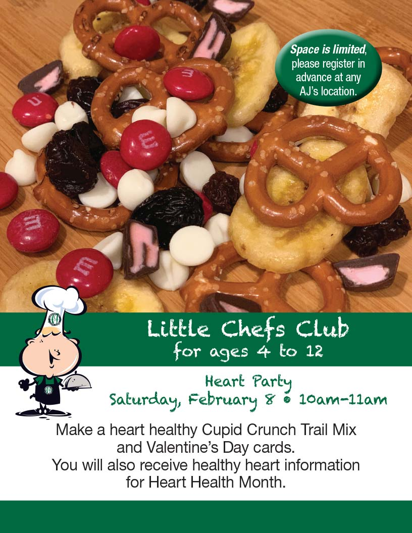 AJ's logo Little Chefs Club Heart Healthy snacks image of trail mix