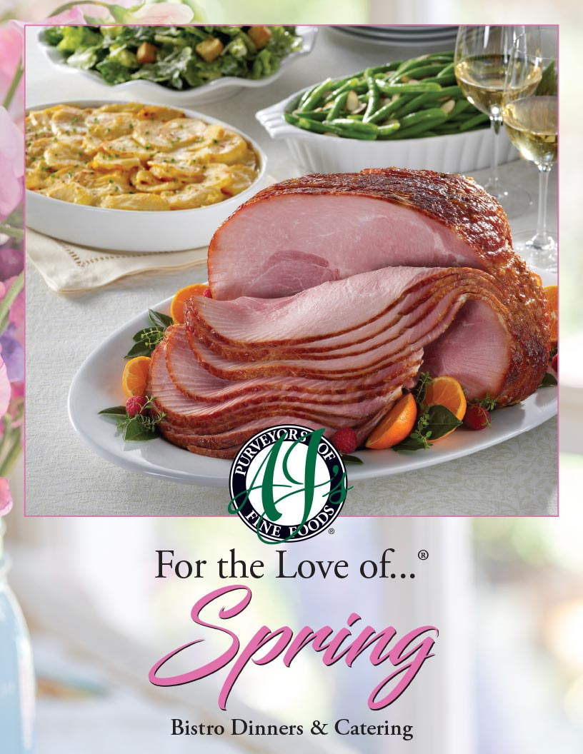 AJ's logo Spring Dinners and Catering features for Holiday Entertaining